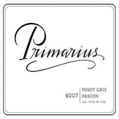 Primarius Winery, Pinot Gris Label