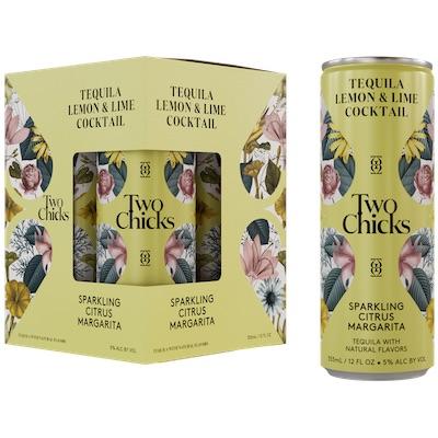 Two Chicks, Citrus Margarita Sparkling Tequila & Citrus Cocktail 4-Pack
