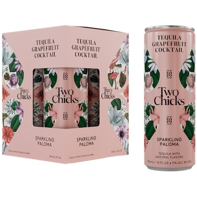 Two Chicks, Paloma Sparkling Tequila & Grapefruit Cocktail 4-Pack